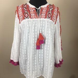 Women's Sz 2 Chico's Boho Tassel Top Shirt